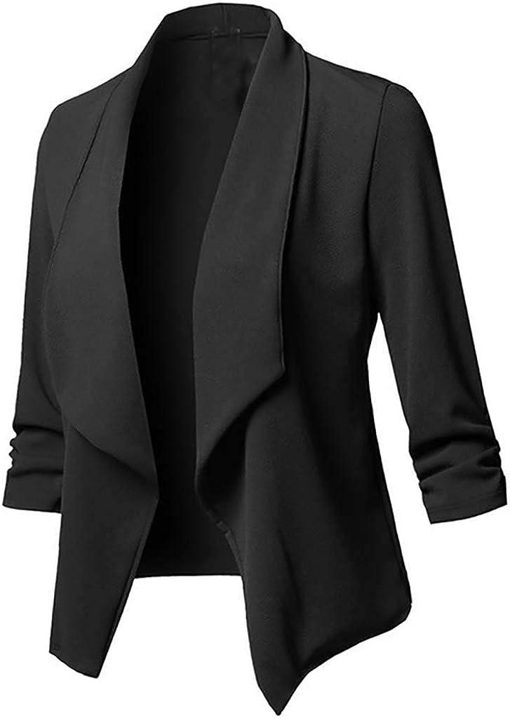 Gergeos Womens Open Front Cardigan Plus Size Long Sleeve Blazer Casual Jacket Coat