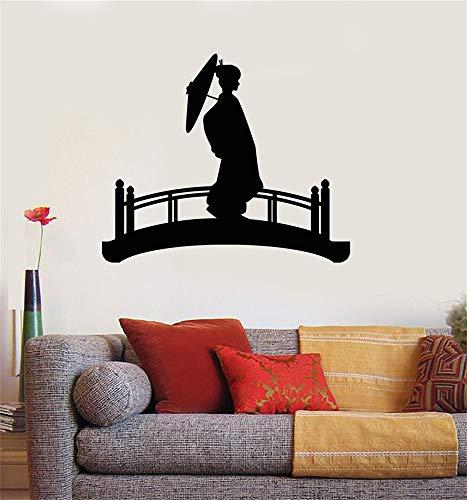 Wandtattoo Wohnzimmer Schattenbild-Geisha-Frauen-Regenschirm-Brücken-Japaner
