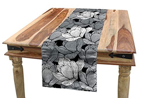 ABAKUHAUS Noir et Gris Chemin de Table, Lotus, Rectangulaire Décoratif pour Salle à Manger, 40 cm x 180 cm, Noir Gris Blanc