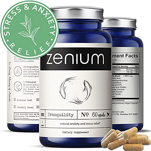 Zenium Stress Relief & Anti-Anxiety Natural Nootropic Supplement   Adrenal Support, Muscle Relaxer, Calm Happy Pills   Ashwagandha, Valerian, 5HTP, L-Theanine, GABA, Rhodiola, Lemon Balm   60 Capsules