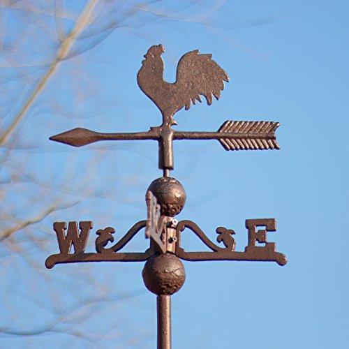 Antikas - Wetterhahn, Wetterfahne, Gusseisen mit Standfuss, Windspiel für Dach und Mauer