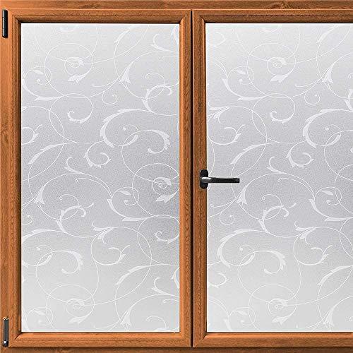 LMKJ Fönster insynsskyddsfolie dekoration elektrostatisk dekal mjölkglasfolie blommönster självhäftande insynsskydd fönsterklistermärke A07 60 x 200 cm