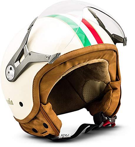 "SOXON® SP-325 ""Imola"" · Jet-Helm · Motorrad-Helm Roller-Helm Scooter-Helm Moped Mofa-Helm Chopper Retro Vespa Vintage Pilot Biker Helmet Brille · ECE 22.05 Visier Schnellverschluss Tasche M (57-58cm)"