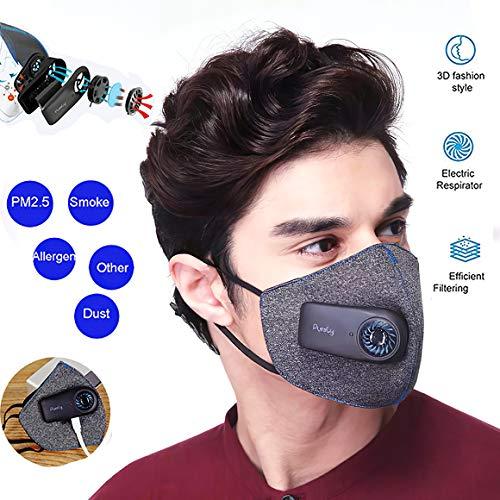 XIAOKUKU Filtro Inteligente de Protección Oral, Filtro de carbón Activado con Filtro de ventilación eléctrico, Puede efectivamente Bloque 99% de Polvo, Saliva, Polen y Otros contaminantes