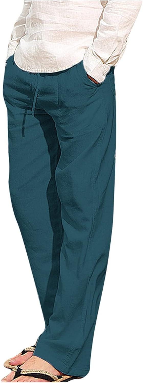 QTOCIO Yoga Pants Sweatpants Mens D Outlet sale feature In stock Fit Loose Linen Casual