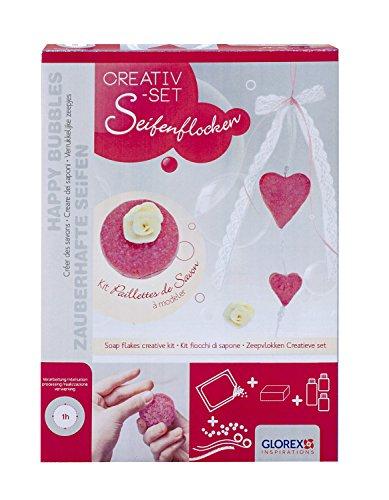 Glorex 6 1600 186 - SoapFix Seifenflocken Creativset Herzen, Kreativset mit Seifenstreuseln zur Gestaltung von individuellen Seifen in Herzform