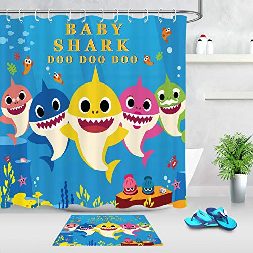 vrupi Cortina Ducha patrón Dibujos Animados Color tiburón bebé Alfombra baño Azul Marino Fondo Tela poliéster Gancho 71 * 71 Pulgadas Cortina Ducha + 1,57 * 23,6 Pulgadas combinación Alfombra baño