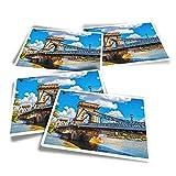 Pegatinas rectangulares de vinilo (juego de 4) – Puente de cadena del Danubio Budapest divertidos adhesivos para portátiles, tabletas, equipaje, reserva de chatarra #21326