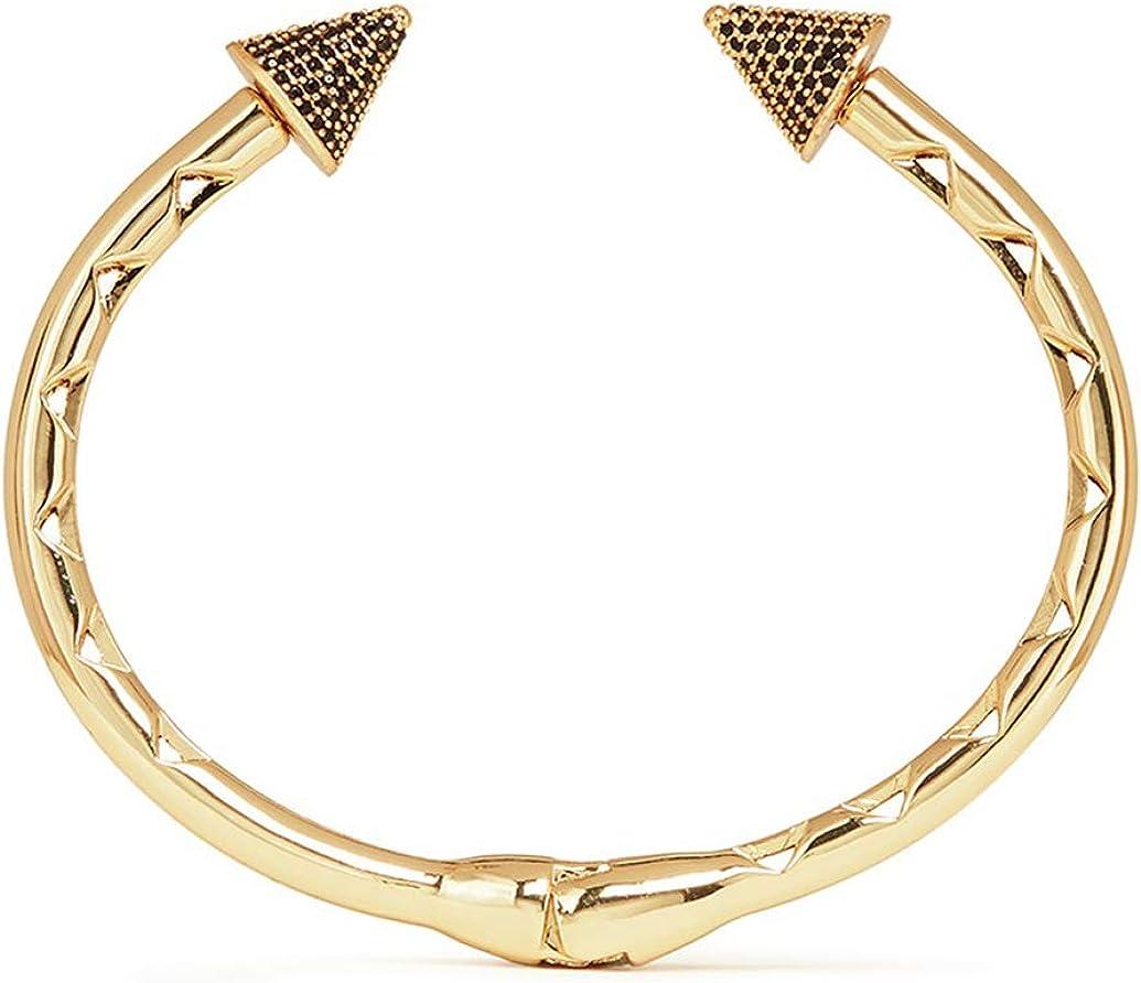 EDDIE BORGO Gold-Plated Inlaid Black Pavé Crystal Bicone Hinge Cuff