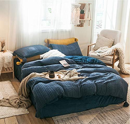Damai home 4 stuks gebreide trui lijn donkerblauw polyester dekbedovertrek Sets en kussen Shams beddengoed Sets Geschikt voor slaapkamer Guest Room Vacation Home Geschikt voor herfst en winter
