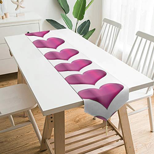 WOSITON Camino de mesa con forma de corazón hinchado, estilo nórdico, para piano de 90 x 13 pulgadas, el mejor regalo para Año Nuevo a los amigos, blanco 200 x 33 cm