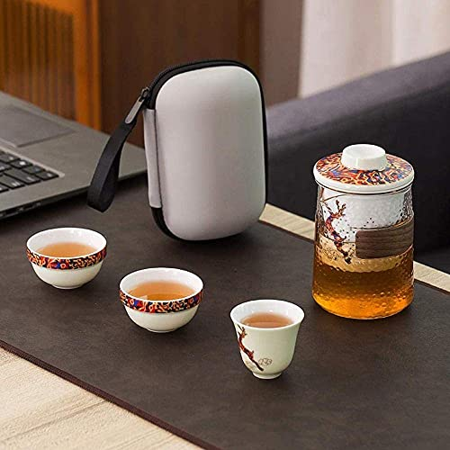Travel Tea Set Ceramic Portable Teaware Sets with Carring Cases Teapot with Small Glass Filter Flower Teawares