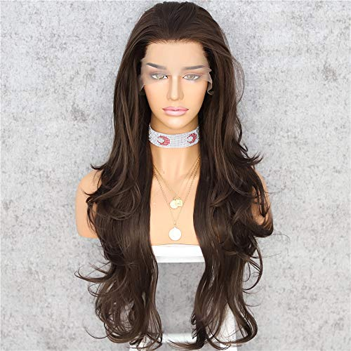 Sapphirewigs Dark Brown Long Wavy T-Part Lace Front Wig For Women Natural Looking Heat Resistant Black Synthetic Hair Wigs 22inch