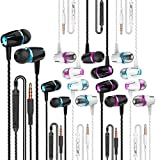 VPB Earbud Headphones with Remote & Microphone, in Ear Earphone Stereo Sound Noise Isolating Tangle Free for iOS and Android Smartphones, Laptops (Mixed Color 8 Pairs)
