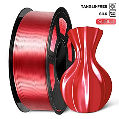 SUNLU PLA Silk Red Filament 1.75mm, 3D Printer Filament, Shiny Silk 1.75 PLA Filament, 1kg(2.2Lbs)/Spool, Red Silk PLA
