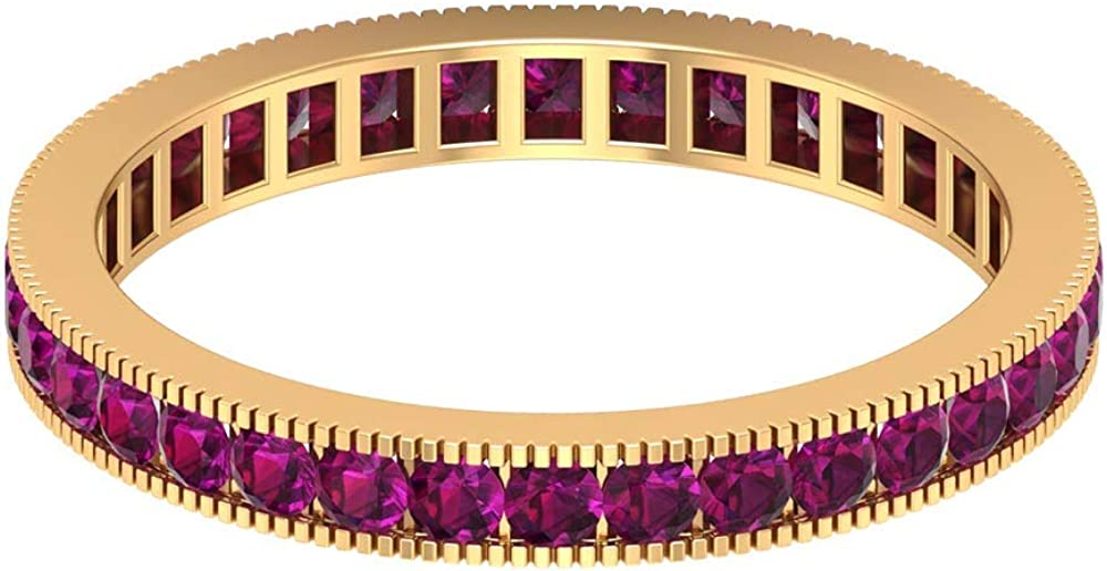 1 CT Rhodolite Wedding Band, Channel Set Eternity Band, Gold Milgrain Ring (1.8 MM Round Shaped Rhodolite), 14K Gold