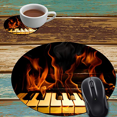 Mouse Pad and Coaster Set, Burning Piano Mouse Pad Round Non-Slip Rubber Mousepad Office Accessories Desk Decor Mouse Mat for Desktops Computer Laptops