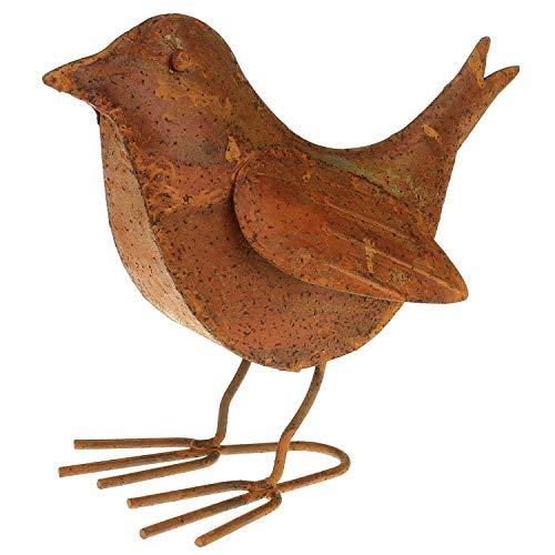 MACOSA Deko Vogel Metall 18,5x16 cm Rostig Echtrost große Dekovogel Garten-Dekoration rostige Tierfigur Dekofigur Insekt Edelrost Gartendeko