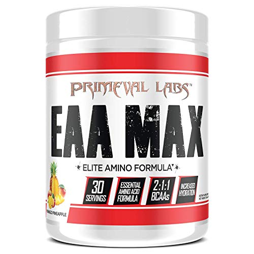 Primeval Labs EAA Max, Essential Amino Acids Supplement Powder, BCAAs, EAAs, Electrolytes, Enhance Performance, Support Hydration, Improve Muscle Recovery, Keto Friendly, Mango Pineapple, 30 Servings