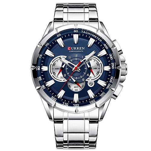 Curren Herren-Armbanduhr mit drei Unterzifferblättern, Datumsanzeige, Stahl, Sport, Quarzuhr, blaues Gehäuse, 8363