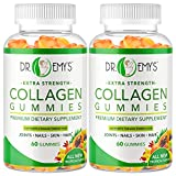 Collagen Gummies by Dr Emy's. Gummy Vitamin for Women & Men, hair, skin, nails, joint supplement. Anti-aging collagen gummy supplements. Strengthen hair, skin and nails. Gelatin-Free. 2 pk 60 ct each.