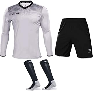 Goalkeeper Jersey Uniform Bundle - Set Includes Shirt, Shorts and Socks - Protection Pads on Shirt and Shorts - Kids and A...