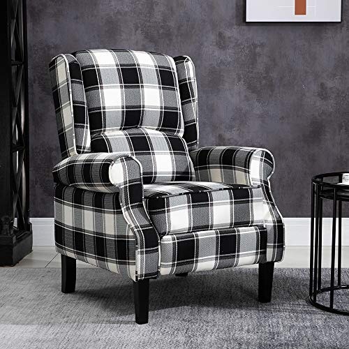 BOJU Comfy Living Room Recliner Armchair Chair Fabric Upholstered Retro Reclining Fireside Chair Leisure Chairs High Back with Arms for Lounge Bedroom Home Cinema Gaming (Black Tartan)