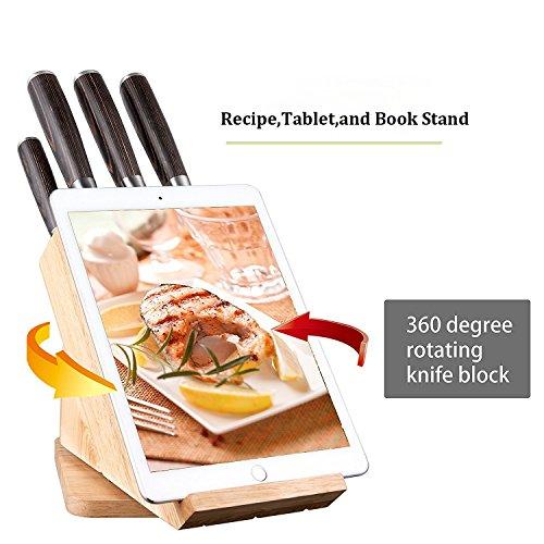 Deik Messerblock Set, Messerset, Kochmesser, Edelstahl, Ergonomischer Holz-Griff, drehbarer Holzblock - 3