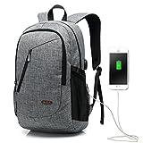 15,6 Zoll USB Arbeitsrucksack / Business Rucksack / Laptop Rucksack für Männer & Frauen, Grau leichte wasserdichte Schulter lässige Tasche für Schule, Arbeit, Reise (USB-6008Grau)