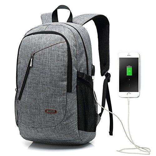15,6 Zoll USB Arbeitsrucksack / Business Rucksack / Laptop Rucksack für Männer und Frauen, Grau leichte wasserdichte Schulter lässige Tasche für Schule, Arbeit, Reise (USB-6008Grau)