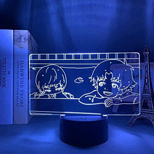 3D noche luz anime ilusión llevó decoración 3D llevó la luz anime Devilman Ryo Asuka X Akira Fudo para la decoración del dormitorio Luz de noche niños Brithday regalo manga mesa 3D lámpara Devilman