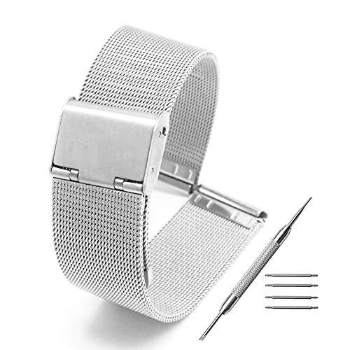 Adallor® Correa Reloj Acero Inoxidable 14mm 16mm 18mm 20mm 22mm 24mm, Correas Metálicas Intercambiables de Reloj y Smartwatch con Cierre Rapido Pasadores