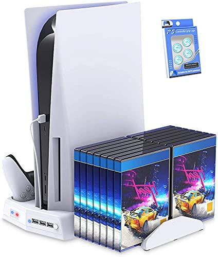 Suporte vertical para Playstation 5 com estação de carregamento por ventilador de resfriamento para PS5 Digital Edition / Console Ultra HD com carregador de controlador para jogos em rack Organizador de portas USB para PS5 e DualSense- preto (Branco)