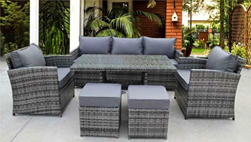 UK Leisure World NEW RATTAN WICKER CONSERVATORY OUTDOOR GARDEN FURNITURE DINING SET CORNER SOFA TABLE (Grey)