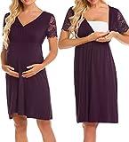 Maxmoda Damen Nachthemd / Schwangerschaftskleid / Stillkleid für Krankenhaus, Stillkleid - Rot - Large