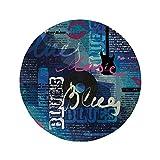 Not Applicable Tapis de Souris Rond en Caoutchouc antidérapant décor de Vieux journaux Collage Vibrant Blues Genre Elements Guitar Record Hand Writing Bisous Multicolore 7.9'x7.9'x3MM