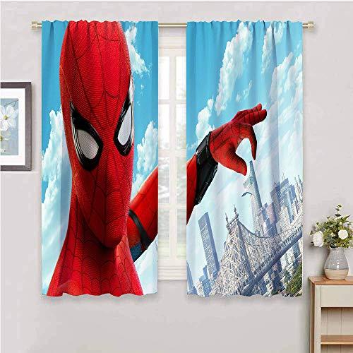 Zmcongz Cortinas rústicos para sala de estar, cortina de Spiderman, correderas, insonorizadas, de 63 x 45 pulgadas, Spiderman