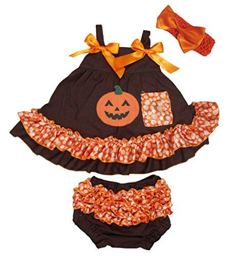 Petitebelle citrouille Marron Pois orange Couvercle basculant bloomer Ensemble de pantalon pour bébé Nb-24 m - Marron - M