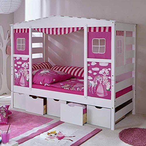 Pharao24 Mädchen Kinderbett in Weiß Rosa Schubladen