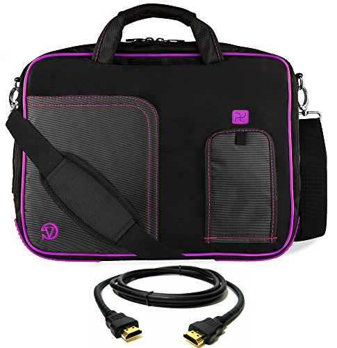 VanGoddy Purple Trim Laptop Messenger Bag 17 inch with HDMI Cable for HP Envy 17 17t, Notebook 17, Omen 17 17t, Pavilion 17 17t 17z, ProBook 470, Zboook 17 Mobile Workstation 17.3 inch