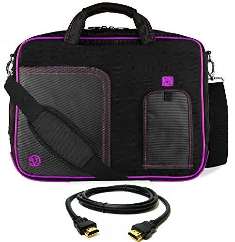VanGoddy Purple Trim Laptop Bag for Acer Aspire/TravelMate/ChromeBook/Swift/Spin/Predator/Nitro / 14'- 15.6in + 8FT HDMI Cable