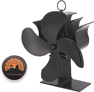 Ventilador de Estufa Peque/ña Ecol/ógico y Silencioso Ventilador de Chimenea Toplanet Ventilador de horno por Calor con 4 Palas para Estufas de Le/ña Clase de energ/ía A+++ Negro