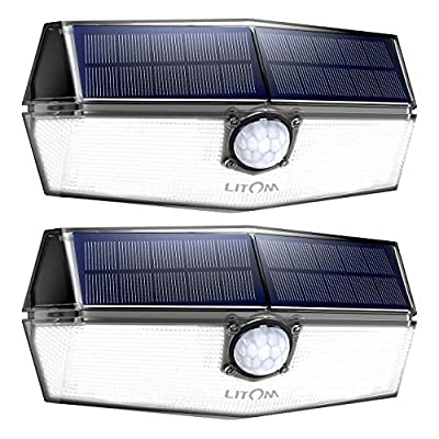 LITOM 120 LED Solar Motion Lights Outdoor, 3 Optional Modes Wireless with 270°Wide Angle, IP67 Waterproof, Portable Solar Powered Security Lights for Front Door, Yard, Garage, Deck, Fence-2 Pack