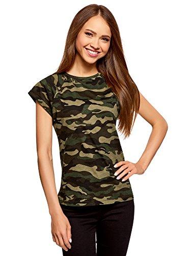 oodji Ultra Mujer Camiseta Estampada de Algodón, Verde, ES 42 / L
