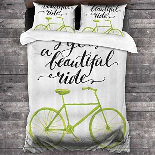 MAYUES Duvet cover bedding Set,Life Is A Bike Ride Words Print With Pastel Color Unique Bike Graphic,3 Piece Set bedding with 2 pillowcases,Single(135 * 210cm)