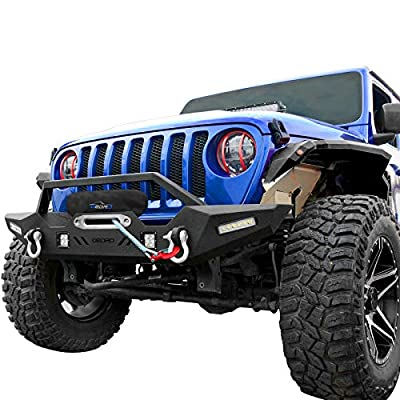 OEDRO Front Bumper Compatible with 2018-2020 Jeep Wrangler JL & Unlimited, 2020 Gladiator, Rock Crawler Bumper with Winch Plate Mounting & 4 x LED Lights & 2 x D-Rings