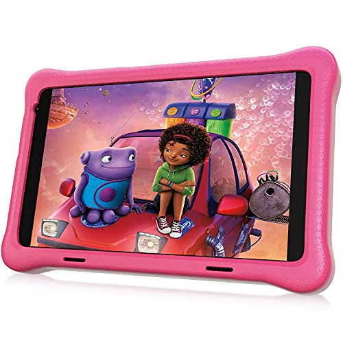 """HAPPYBE 8 inch Kids Tablet, Children's Tablets, 8"""" Display, 1080p Full HD, Quad Core Android 10, 32GB, Parental Control, Kidoz Installed, WiFi, Dual Camera Google Play, YouTube, Pink Kid-Proof Case"""