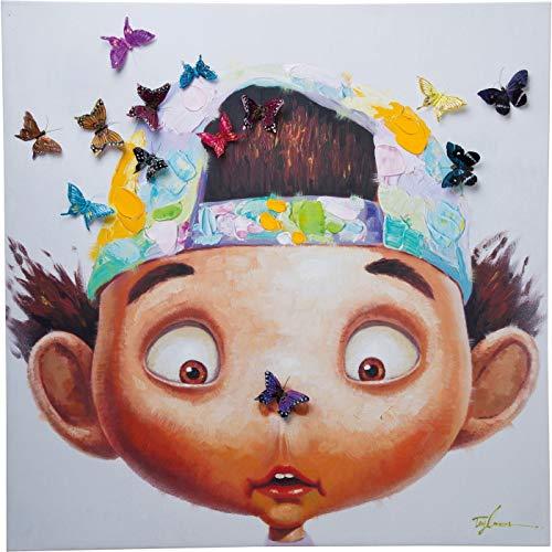 Kare Design Bild Touched Boy with Butterflys, XXL Leinwandbild auf Keilrahmen, Wanddekoration mit Jungen und Schmetterlingen, bunt (H/B/T) 100x100x4cm