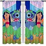 Cortinas de dibujos animados con bolsillo para varilla, diseño de Lilo y puntada, para decoración de habitación de balcón, 163 x 163 cm