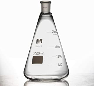 WUPYI 2000ml Glass Erlenmeyer Flask with 24/40 Joints,Conical Bottle Laboratory Glassware,US Stock